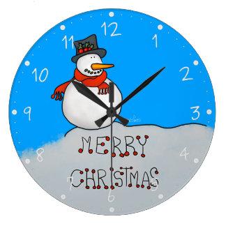 Grande Horloge Ronde Bonhomme de neige de Joyeux Noël