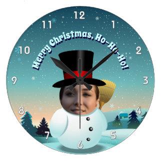 Grande Horloge Ronde Bonhomme de neige de Noël avec tout visage que