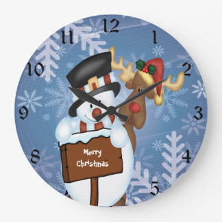 Grande Horloge Ronde Bonhomme de neige et renne