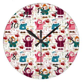 Grande Horloge Ronde Bonhommes de neige de Joyeux Noël