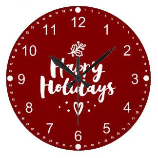 Grande Horloge Ronde Bonnes fêtes gui et coeur