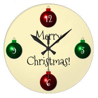 Grande Horloge Ronde Boules rouges et vertes de Joyeux Noël