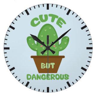 Grande Horloge Ronde - Cactus de Kawaii - drôle mignon mais dangereux