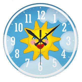 Grande Horloge Ronde Cadeaux frais heureux de Sun |