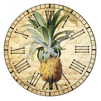 Grande Horloge Ronde Calligraphie à la mode de cru d'art d'ananas