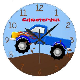 Grande Horloge Ronde Camion de monstre de flammes bleues