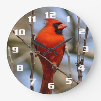 Grande Horloge Ronde Cardinal rouge élégant