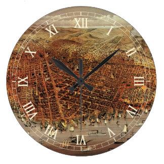 Grande Horloge Ronde Carte aérienne antique de San Francisco, la