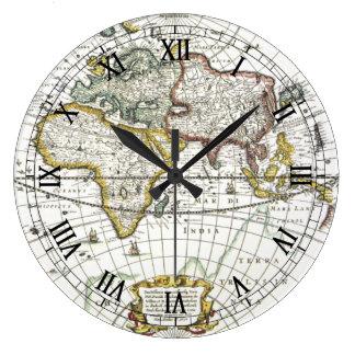 Grande Horloge Ronde Carte antique du monde par Hendrik Hondius, 1630