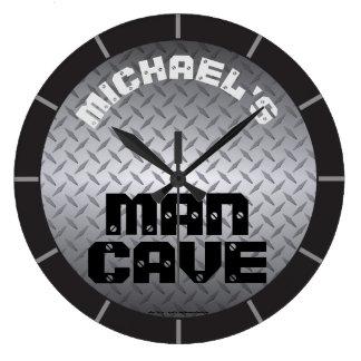 Grande Horloge Ronde Caverne personnalisée d'homme de Diamondplate