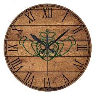 Grande Horloge Ronde Celtic rustique Claddagh