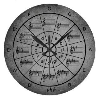 Grande Horloge Ronde Cercle des musiciens argentés de grunge de couleur