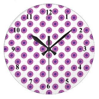 Grande Horloge Ronde Cercles ronds pourpres de point de polka de cible