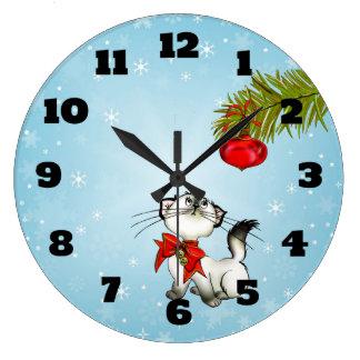 Grande Horloge Ronde Chat curieux de Kitty dans un arc rouge de Noël