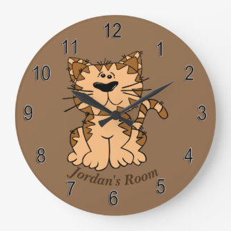 Grande Horloge Ronde Chaton tigré mignon de l'horloge des enfants