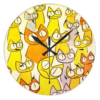 Grande Horloge Ronde Chats de sort de regarder d'orange