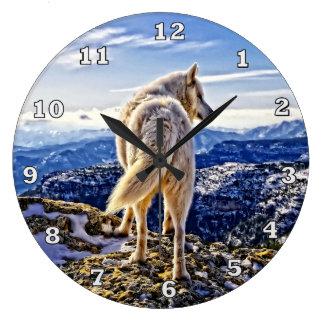 Grande Horloge Ronde Chef de l'horloge de loup de paquet
