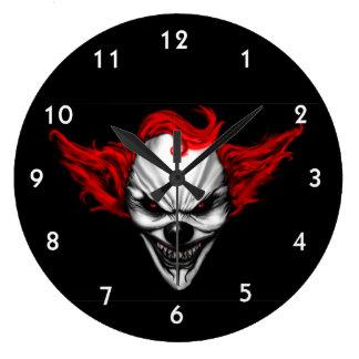 Grande Horloge Ronde Cheveux mauvais heureux de rouge de clown