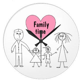 Grande Horloge Ronde Chiffres mignons conception de bâton de famille de