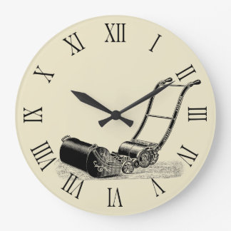Grande Horloge Ronde Chiffres romains vintages C de tondeuse à gazon
