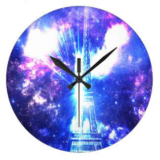 Grande Horloge Ronde Ciel parisien iridescent