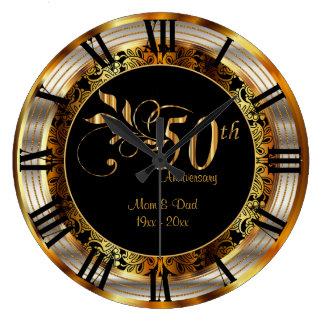 Grande Horloge Ronde Cinquantième anniversaire d'or élégant