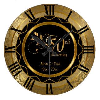 Grande Horloge Ronde Cinquantième anniversaire d'or élégant de diamant