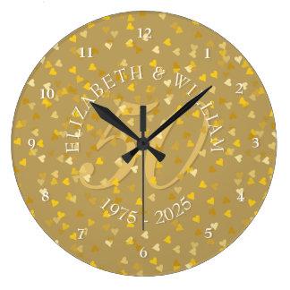 Grande Horloge Ronde cinquantième Confettis de coeurs d'or