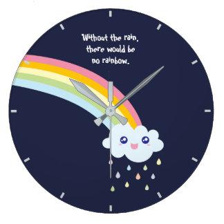 Grande Horloge Ronde Citation inspirée et de motivation d'arc-en-ciel