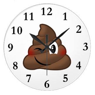 Grande Horloge Ronde Cligner de l'oeil la dunette Emoji