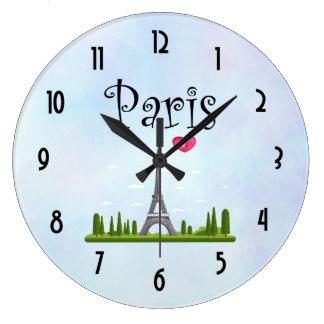 Grande Horloge Ronde Coeur Paris avec Tour Eiffel