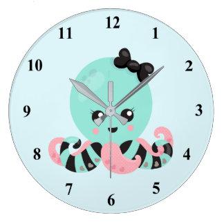 Grande Horloge Ronde Conception de poulpe d'art de Kawaii