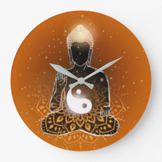 Grande Horloge Ronde Conception de Ying Yang de méditation de Bouddha