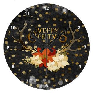 Grande Horloge Ronde Confettis floraux d'andouillers de Joyeux Noël
