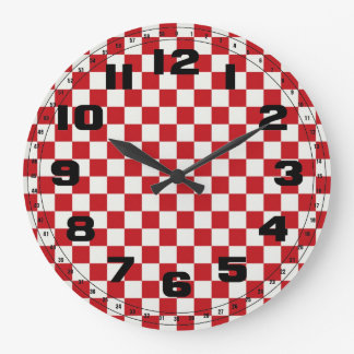 Grande Horloge Ronde Couleurs Checkered rouges et blanches de BBQ de pa