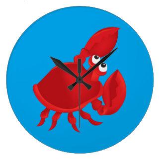 Grande Horloge Ronde Crabe de bande dessinée