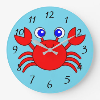 Grande Horloge Ronde Crabe rouge Animated