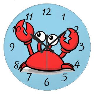 Grande Horloge Ronde crabe rouge animated mignon