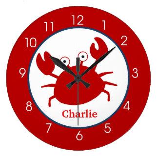 Grande Horloge Ronde Crabe rouge sous l'horloge de mer - ajoutez un nom