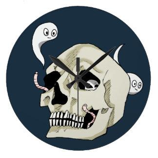 Grande Horloge Ronde Crâne déplaisant de chenille