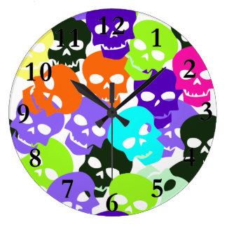 Grande Horloge Ronde Crânes colorés