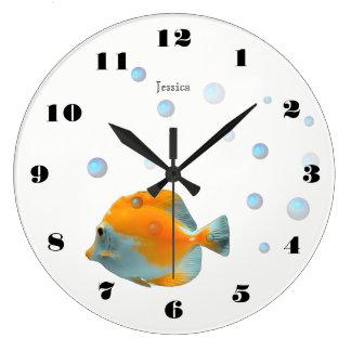Grande Horloge Ronde Crèche de corail jaune mignonne d'enfants de