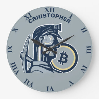 Grande Horloge Ronde Cru frais drôle de Bitcoin Cryptocurrency
