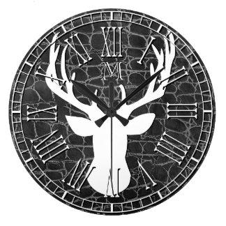 Grande Horloge Ronde Cuir principal de charbon de bois de monogramme de