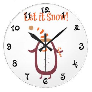 Grande Horloge Ronde De fête laissez-le neiger