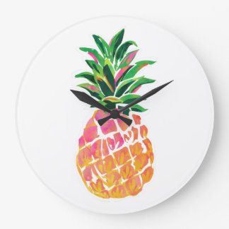 Grande Horloge Ronde Décor gai d'ananas d'horloge