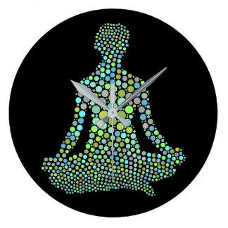 Grande Horloge Ronde Demi Lotue de pose de yoga de Namaste
