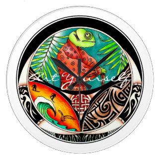 Grande Horloge Ronde Dessin d'art de caméléon