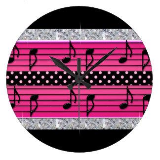 Grande Horloge Ronde Diamants roses et noirs de point de polka et notes
