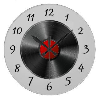Grande Horloge Ronde Disque vinyle d'isolement